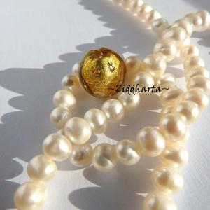 LampWork pärla Coin: GOLD - 7956