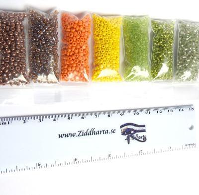 #02 REA: Seedbeads-MIX 7st olika färger: Paket #02: Nature