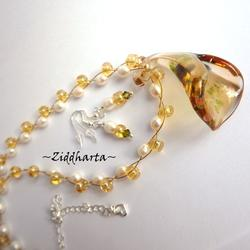 #20 Amber colored Lilly Necklace Lampwork Glass Necklace LW Bell Pendant Necklace Freshwater Pearls Necklace - Handmade Jewelry by Ziddharta