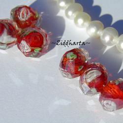 Exklusiv Handgjord LampWork glaspärla: Facetterad Rondell Rosor & guldsand -Röd /RED #12