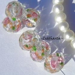 Exklusiv Handgjord LampWork glaspärla: Facetterad Rondell Rosor & guldsand - Crystal #13