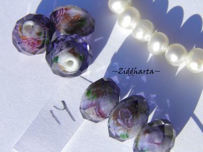 Exklusiv Handgjord LampWork glaspärla: Facetterad Rondell Rosor & guldsand -Purpur /Purple #14