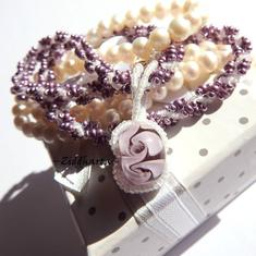 Unique! Swirl Necklace Violet Lavendel Necklace DNA Helix Necklace Handsewn Necklace Miyuki seed beads Lilac Necklace - Handmade by Ziddis