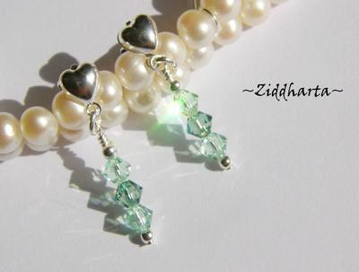 1 par Hjärte Örhängen Swarovski Crystals: Erinite Chrysolite