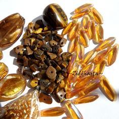 REA - Utförsäljning: Gold - TigerEye! Kit Pärlor & Halvädelsten ca 80gr