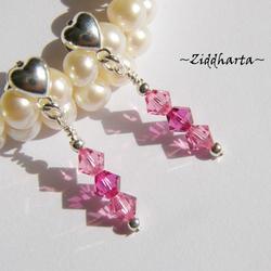1 par Hjärte Örhängen Swarovski Crystals: Fuchsia Rose