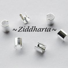 6 Klämdelar SP ca 5x5mm - för smyckesband mm.