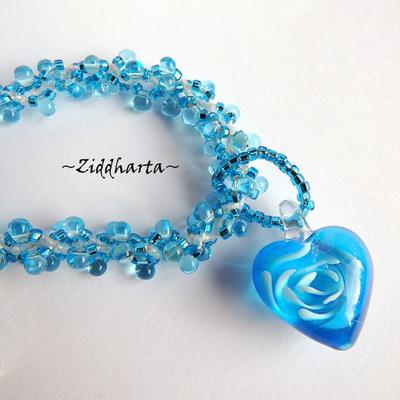 "#33 Two necklaces in One ""Sky Blue Swirl Heart"" Necklace Miyuki & Jablonex beaded Swirl Necklace Sewn Seed Beads - Handmade Jewelry by Ziddharta"