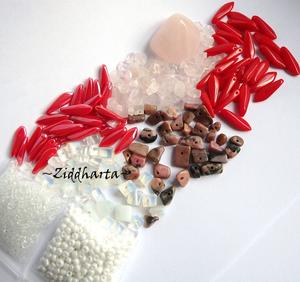 REA - Utförsäljning: Rött - RoseQuartz! Kit Pärlor & halvädelsten ca 80gr