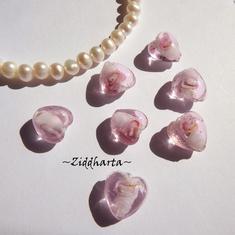1-3-5st Hjärta ca 12mm - Skirt Rosa PINK Skärt - Handmade HEART Lampwork Beads Handblåsta Glaspärlor