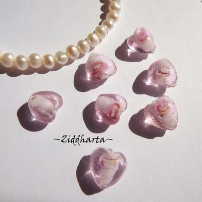 1-3-5st Hjärta ca 12mm - Skirt Rosa PINK - Handmade HEART Lampwork Beads Handblåsta Glaspärlor