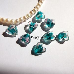 1-3-5st Hjärta ca 12mm - TEAL Grönt - Handmade HEART Lampwork Beads Handblåsta Glaspärlor