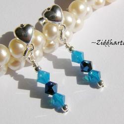 1 par Hjärte Örhängen Swarovski Crystals: Metallic Blue2x Caribbean Blue