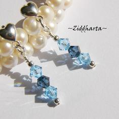 1 par Hjärte Örhängen Swarovski Crystals: Montana Aquamarine