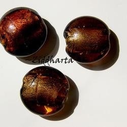 LampWork pärla Coin: SF Dk Topaz - 7950
