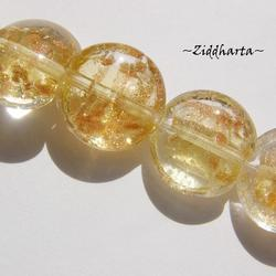 LampWork pärla Coin: Clear /GoldSand - 5910