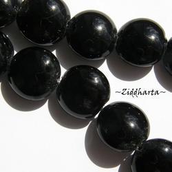 LampWork pärla Coin: ca18mm JET Black / Svart - 5805