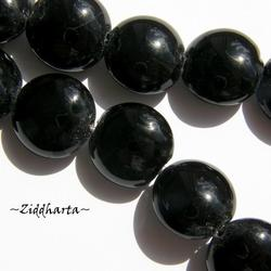 LampWork pärla Coin: ca15mm JET Black / Svart - 6348