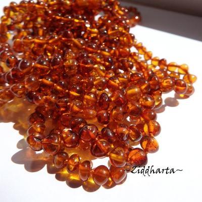 Rundad Semi-rund Bärnsten /Amber: 10st pärlor - Cognac - Grade A - ca 7mm