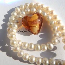 1 GÅVA per order: 1st LampWork GoldFoil Stripe: 17mm Hjärta COPPER - Dk Amber