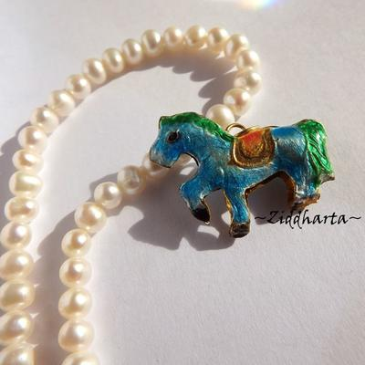 1 Cloisonné pärla: Turkos & havsgrön Pony Häst Horse #48
