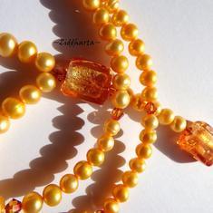 """#9 """"Astral Pink"""" - vackert halsband med massor av sötvattenspärlor & Swarovski Crystals"""