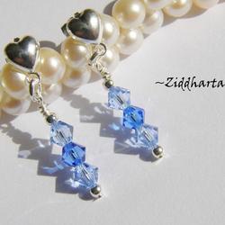 1 par Hjärte Örhängen Swarovski Crystals: Sapphire Lt & Sapphire