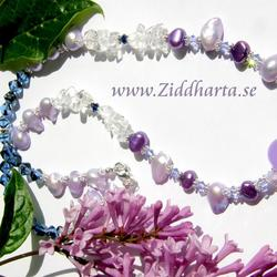 "L1:03nn CandyJade Necklace ""Violetta"" Freshwaterpearls and Swarovski Crystals Necklace - Handmade beaded Jewelry and Beading by Ziddharta"