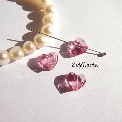 Swarovski Crystals Hearts 8mm LOVE slipat Hjärta: Rose
