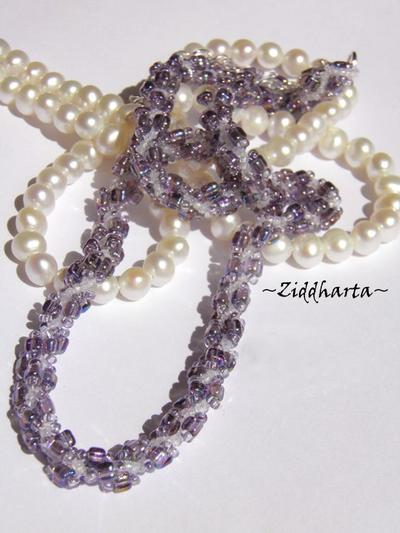 "#38 Two necklaces in One ""Swarovski Violet Vitrail"" Necklace Swirl Spiral Necklace Lilac Lavendel Necklace - Handmade Jewelry by Ziddharta"