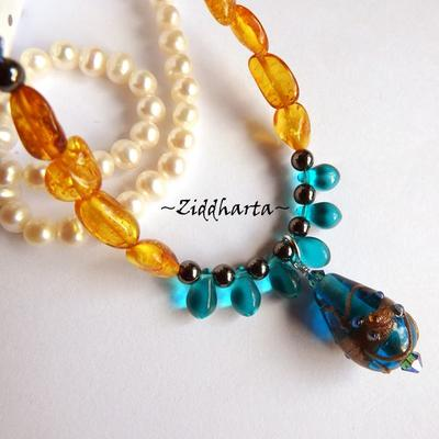 OOAK Amber TEAL #2 Necklace Glass LampWork Swarovski Rav Bernstein Bärnstens Necklace Gem Amber Hematite Necklace - Handmade by Ziddharta