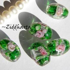 4st SF Oval ca15x11mm Rosor & blad: Emerald