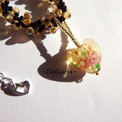 Handmade LampWork Heart Pendant Necklace Jonquile AB Glass Drops Necklace GoldSand LW Heart Necklace - Handmade Jewelry by Ziddharta