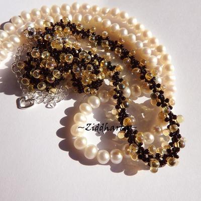 Handmade LampWork Heart Pendant Necklace Jonquile AB Glass Drops Necklace GoldSand LW Heart Necklace - Handmade Jewelry by Ziddharta