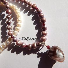 Garnet Necklace Lavendel Freshwaterpearl Necklace OOAK Banded Agate Pendant Necklace Gem stone Garnet Necklace - Handmade by Ziddharta
