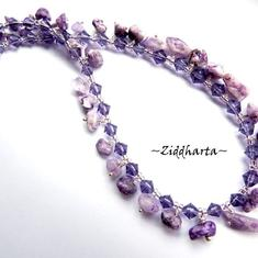 "OOAK Necklace ""Lilac Stone Chips"" Fring Necklace - Handmade beaded Jewelry and Beading by Ziddharta"