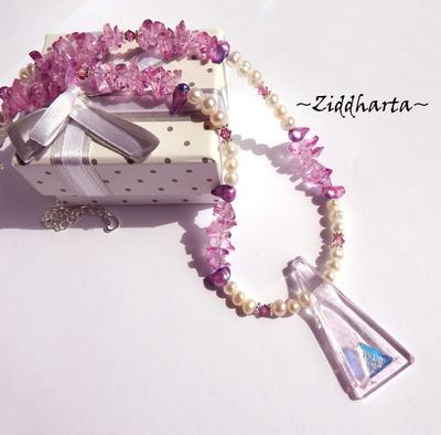 TRIANGLE Dichroic Glassfuse Pendant Necklace - Unique Pink Magenta Necklace Freshwaterpearls Swarovski Crystals ROSE Necklace by Ziddharta