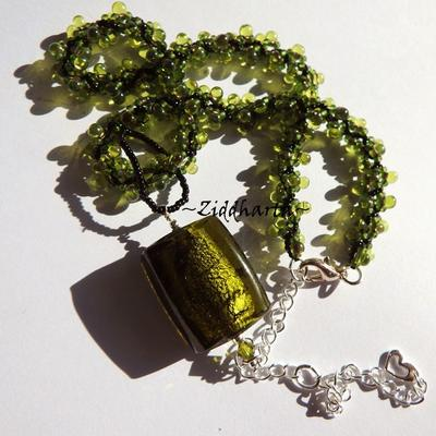 Olivine SilverFoil Necklace LampWork Pendant Necklace Spiral DNA Hand Sewn Miyuki Seedbead Necklace Necklace - Handmade by Ziddharta