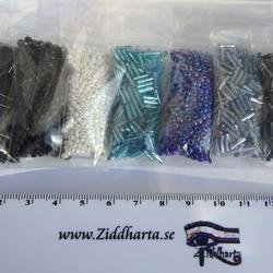 Seedbeads-MIX 7st olika färger: Paket #21 Blue AB Sapphire Turkos Hematite Svart Vitt