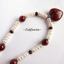 "#23 SET Necklace Earrings OOAK ""Chocolate Heart"" Agate Heart Necklace Freshwaterpearls Swarovski  - Handmade Jewelry and Beadings by Ziddharta"