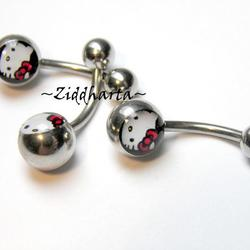 1 Piercing-smycke: Navel Barbell - Hello Kitty!