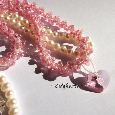 Bubbelgum PINK Necklace Swarovski Lt Rose Heart Necklace Handsewn DNA beaded Spiral DNA rope Necklace - Handmade Jewelry by Ziddharta