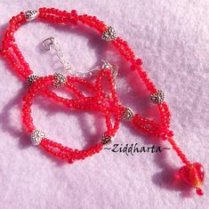 Necklace SilverFoil LampWork Heart Miyuki Fringes - Handmade beaded Jewelry and Beading by Ziddharta