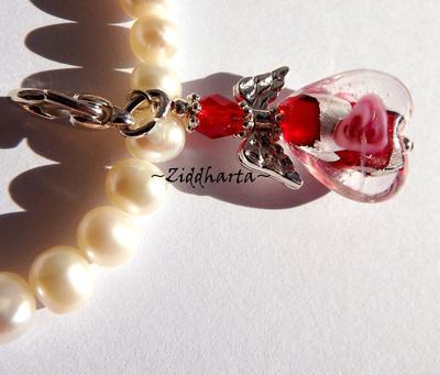 1 SF RED LampWork SilverFoil: Ängla-hänge