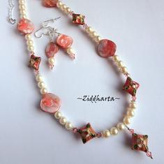 SET Necklace Bracelet Earrings Cloisonné Diamond Pendant Mother of Pearls Swarovski Crystals - Handmade Jewelry and Beadings by Ziddharta