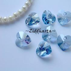 Swarovski 10mm HJÄRTA - Crystal Blue Shade