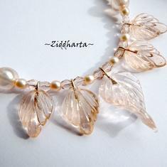 SMYCKEN: Halsband Peach GlassLeafs