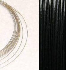 2,2m Wire 0,38mm: BLACK / Svart + 20 SP klämpärlor