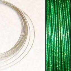 2,2m Wire 0,38mm: SMARAGDGRÖN + 20 GP klämpärlor