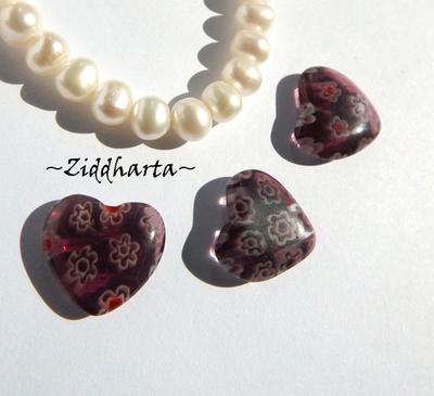 Millefiori glaspärla: Hänge - Ametistfärgat Hjärta - Halvborrad #59
